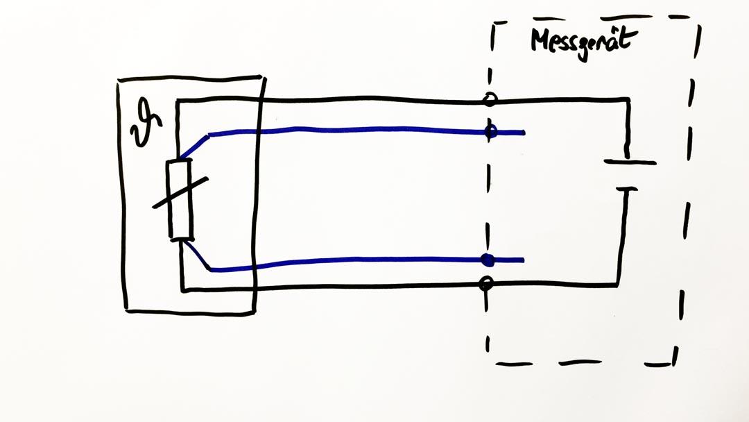 Skizze Pt100 in Vierleiter-Schaltung